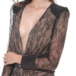 LONG LACE DRESS HADDADA SILVIAN HEACH BLACK