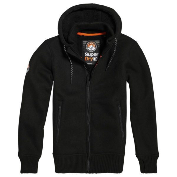 SUPERDRY BONDED KNIT ZIPHOOD M2000001A 02A-BLACK