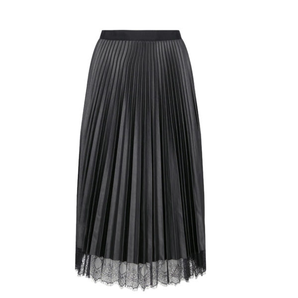 TWINSET FAUX LEATHER PLEATED MIDI SKIRT 192TP2064-BLACK