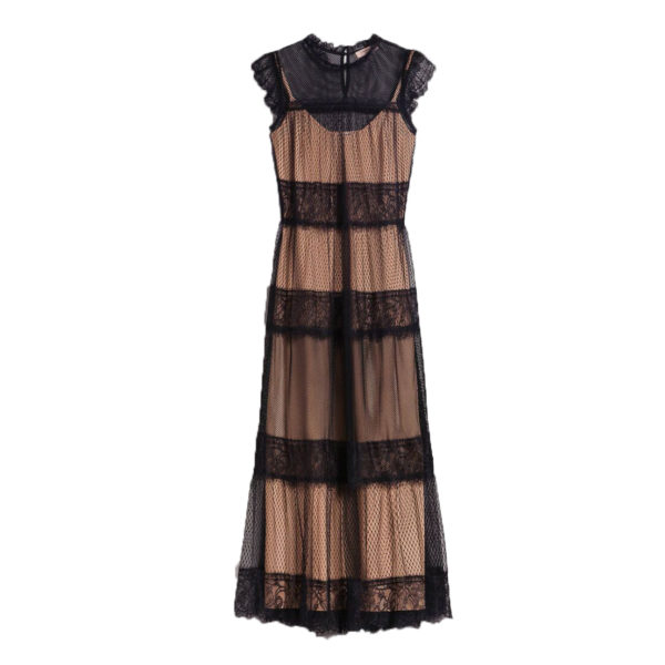 TWINSET LONG DRESS WITH TULLE,LACE AND PLUMETIS PATCH 192TP2332-BLACK/NUDE
