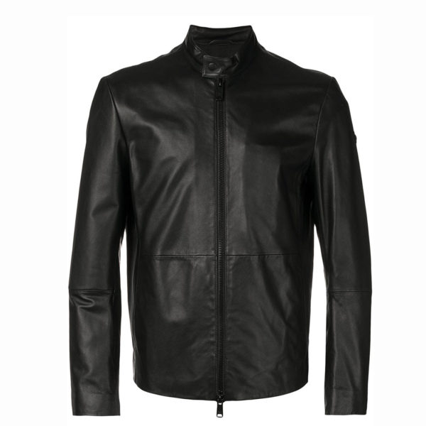 EMPORIO ARMANI LEATHER JACKET 01B50P 01P50 999-BLACK