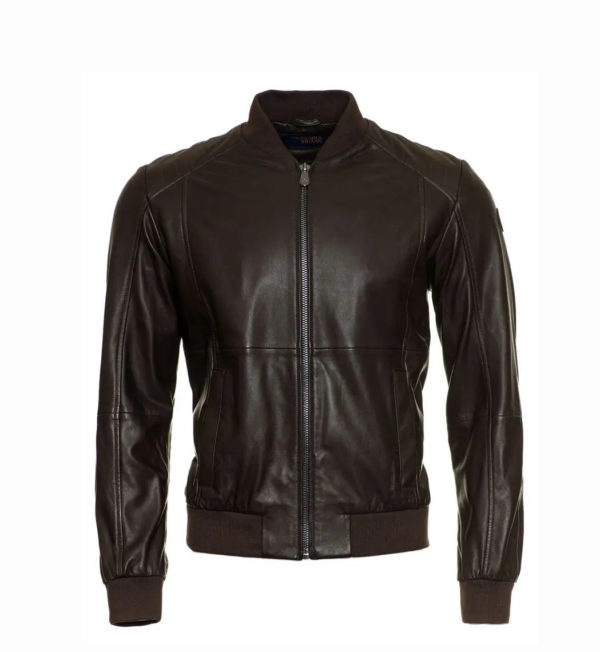TRUSSARDI BOMBER REGULAR FIT SOFT TOUCH LEATHER 52S00364 2P000079 B295-EBONY
