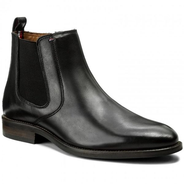 TOMMY HILFIGER ESSENTIAL LEATHER CHELSEA BOOT FM0FM00720 990-BLACK