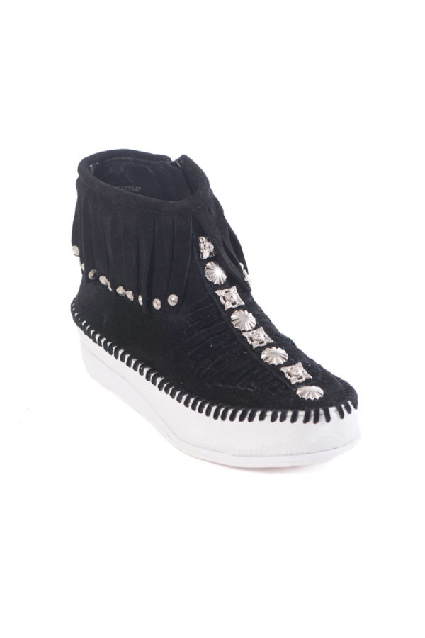 JEFFREY CAMPBELL ENCANTO ST FLAT BOOTIES 0101001703-BLACK