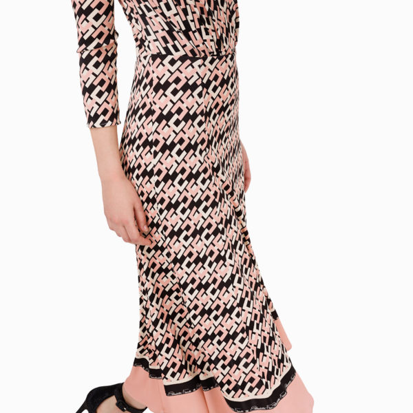 ELISABETTA FRANCHI LOGO DRESS AB-976-96E2-C369-153 PINK / BLACK