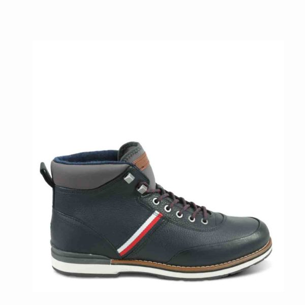 TOMMY HILFIGER OUTDOOR CORPORATE LEATHER BOOTS FM0FM02534 CKI-DARK BLUE
