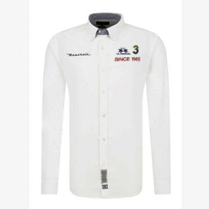 LA MARTINA L/S SHIRT OXFORD STRETCH  NMCM30 OX014 00001-WHITE