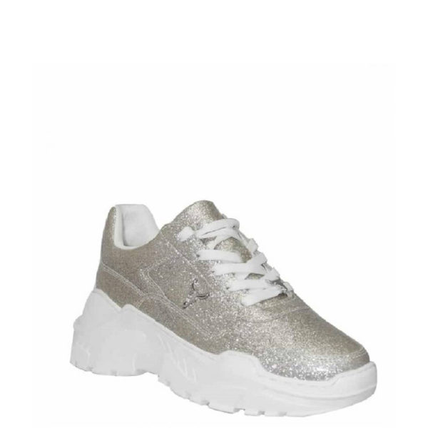 WINDSOR SMITH SPORTS SHOES CARTE SILVER GLITTER