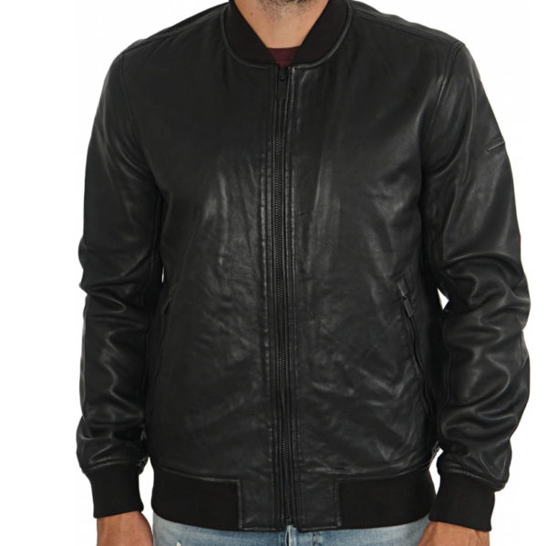 SUPERDRY LEATHER JACKET M5000061A 02A-BLACK