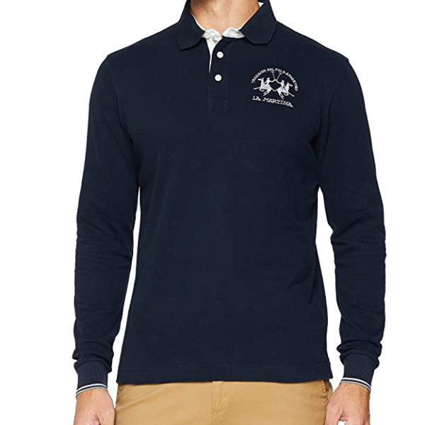 LA MARTINA MAN POLO L/S HEAVY JERSEY MMP012 JS005 07017-NAVY