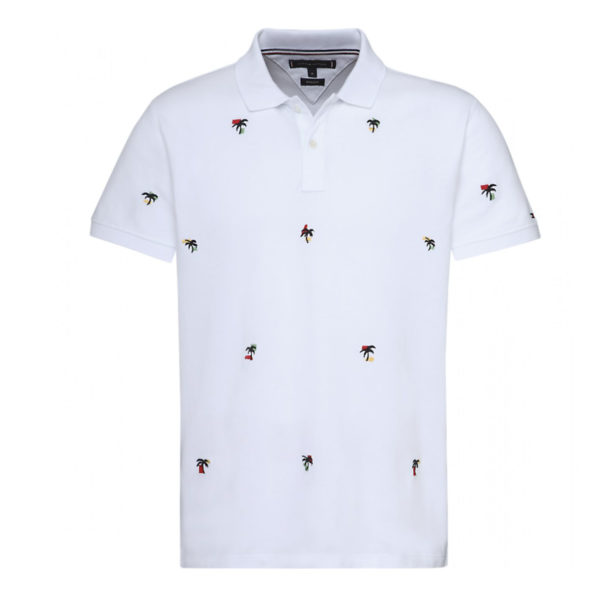 TOMMY HILFIGER PALM TREE EMBROIDERY POLO MW0MW09774-100-BRIGHT WHITE