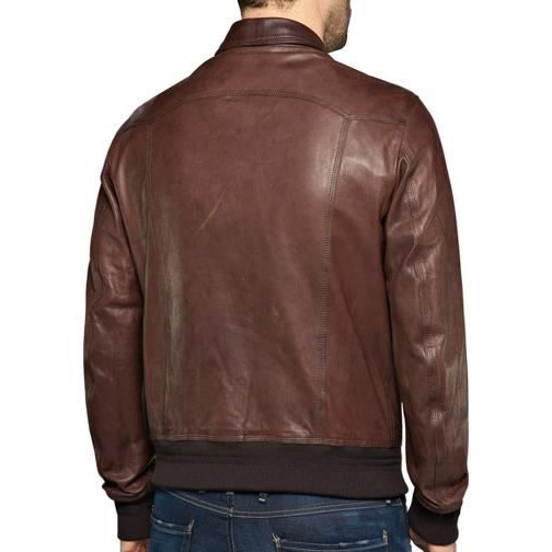 REPLAY LEATHER JACKET M8028.000 83056.035-BROWN