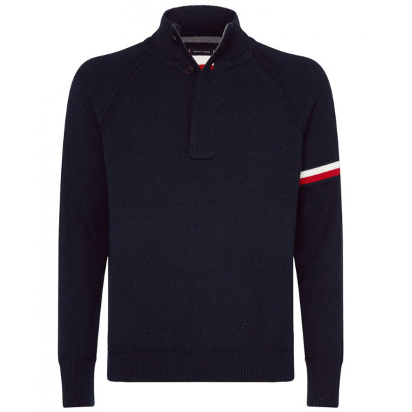 TOMMY HILFIGER TH MONOGRAM BUTTON PULLOVER MW0MW11701 CJM-NAVY