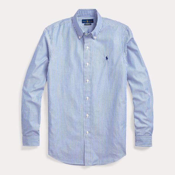 RALPH LAUREN CUSTOM FIT STRETCH SHIRT 710787320-008 BLUE / WHITE