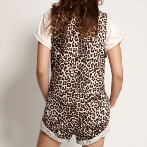 ONE TEASPOON ZIP THROUGH MINI JUMPSUIT 23064-L LEOPARD PRINT