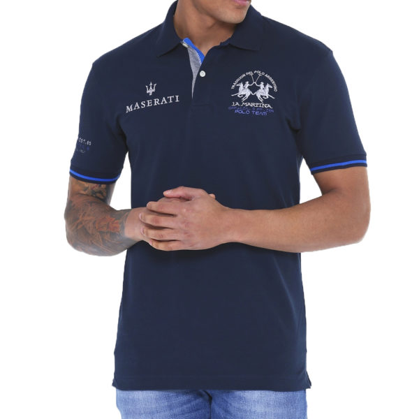 LA MARTINA MAN POLO PIQUET STRETCH JMPM61 PK001 07017-NAVY