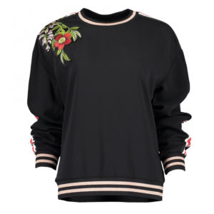 TED BAKER EMBROIDERED TRIM SWEATER 147436-BLACK