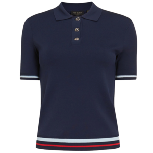 TED BAKER VILLIY KNITTED POLO TOP 240330-NAVY