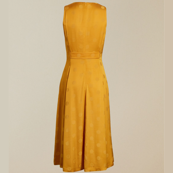 TED BAKER INNABEL A LINE BELTED MIDI DRESS 240546-YELLOW