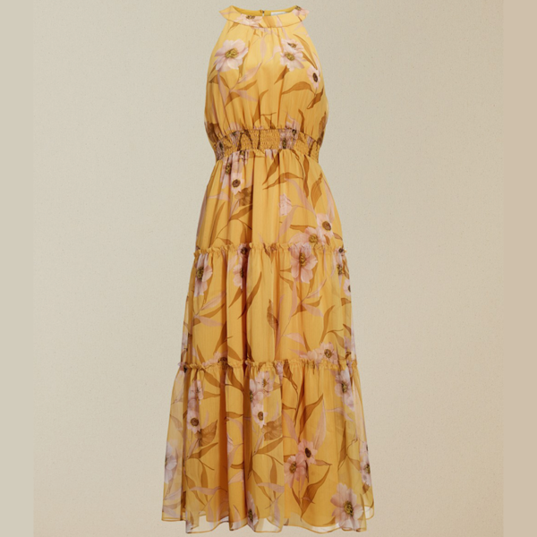TED BAKER SAFFINE CABANA PRINTED TIERED MIDI DRESS 240638-YELLOW