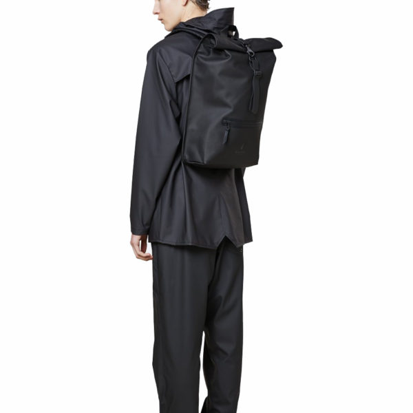 RAINS UNISEX ROLLTOP BACKPACK 1316-BLACK