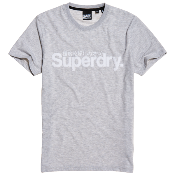 SUPERDRY CORE FAUX SUEDE TEE M1010103A-9SQ-COLLECTIVE LIGHT MARL