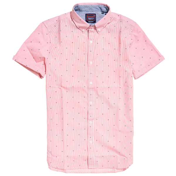 SUPERDRY CLASSIC SHOREDITCH PRINT S/S SHIRT M4010005A-T5R-MICRO PIN JETS RED