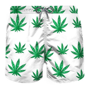 MC2 SWIM SHORTS GUSTAVIA VELVET MARIJUANA MARJ01-WHITE/GREEN