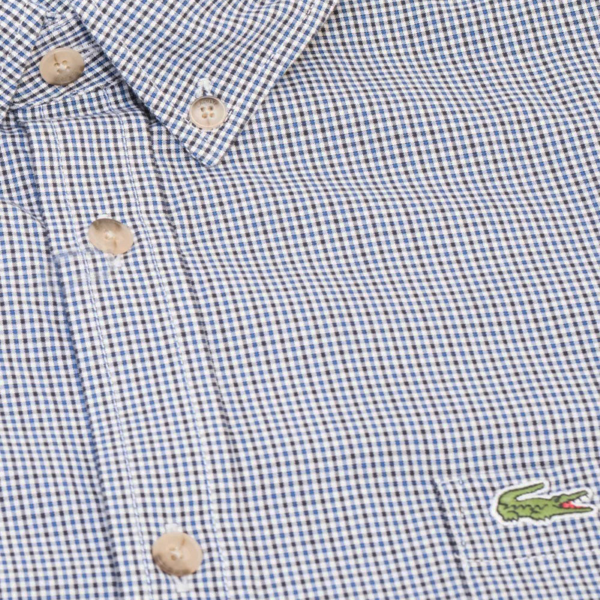LACOSTE REGULAR FIT GINGHAM COTTON SHIRT CH0004-0Y1-NAVY BLUE / BLUE