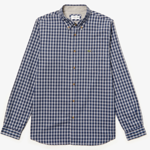 LACOSTE CHECK OXFORD COTTON SHIRT CH0061-0Y0-BLUE MARINE/BLUE