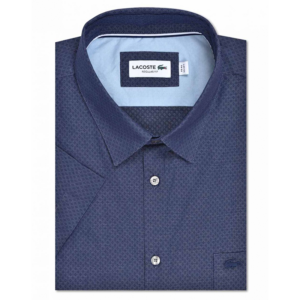LACOSTE REGULAR FIT TEXTURISED COTTON SHIRT CH6424-525-NAVY BLUE / WHITE