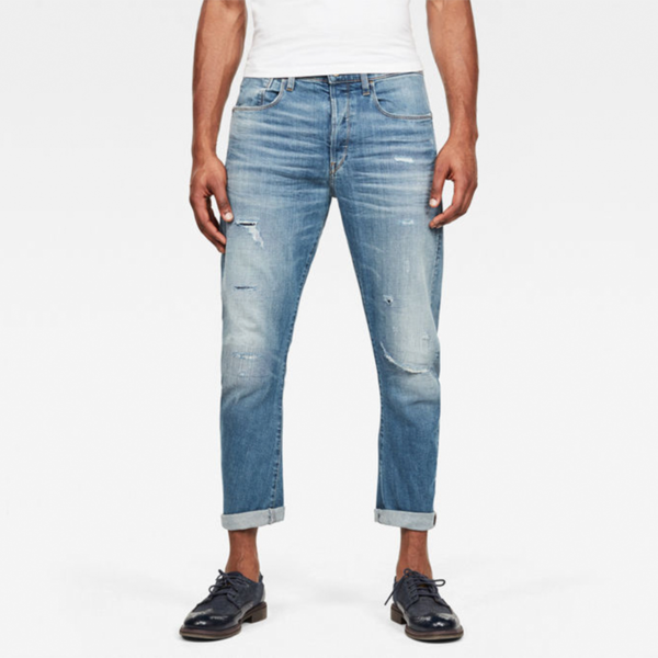 G-STAR RAW TYPE C 3D STRAIGHT TAPERED 2.0 JEANS D16851-B767-B190-WORN IN RIPPED BLUE FADED