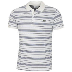 LACOSTE REGULAR FIT STRIPED COTTON PIQUE POLO SHIRT PH6785-QSF-WHITE / NAVY BLUE