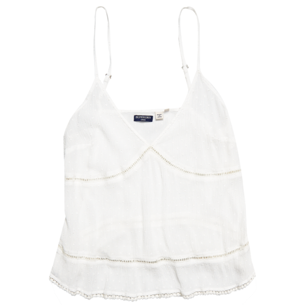 SUPERDRY SUMMER LACE CAMI TOP W6010063A-04C-WHITE