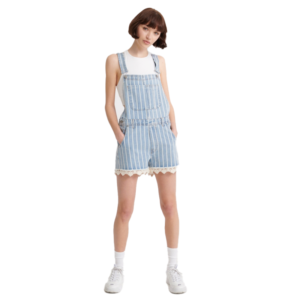 SUPERDRY DUNGAREE LACE BOYSHORT W8010109A-T5N-LIGHT INDIGO STRIPE