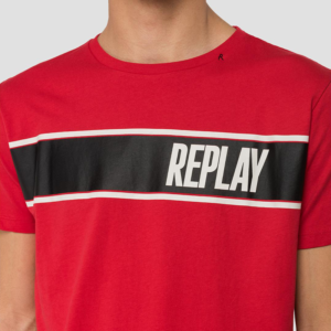 REPLAY MÉLANGE T-SHIRT WITH REPLAY PRINT M3004.000.2660-555-RED