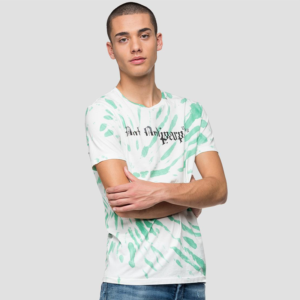 REPLAY T-SHIRT WITH TIE&DYE TREATMENT M3053.000.22810T-010-WHITE/GREEN