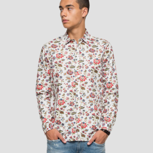 REPLAY DOBBY COTTON SHIRT WITH FLORAL PRINT M4026.000.71992-010-WHITE