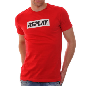 REPLAY T-SHIRT WITH REPLAY WRITING M3003.000.2660-555-RED