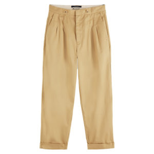 SCOTCH AND SODA CLEAN TWILL CHINO WITH DETACHABLE PLEATED BELT 156934-0137-SAND