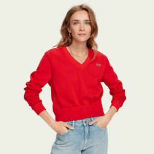 SCOTCH AND SODA V-NECK WEAT WITH SHAPED WAIST CONSTRUCTION 157047-3605-REEF RED