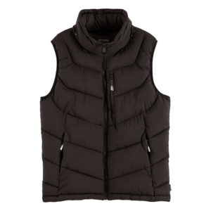 SCOTCH AND SODA QUILTED REPREVE®  FAKE DOWN BODY WARMER WITH DETACHABLE HOOD 158319-0008-BLACK