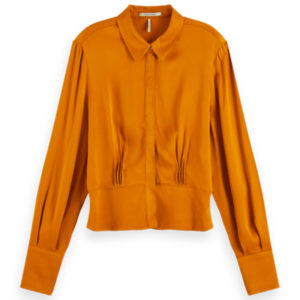 SCOTCH AND SODA SHIRT WITH FITTED WAIST IN SHINY QUALITY 158887-1226-ORANGE SPICE