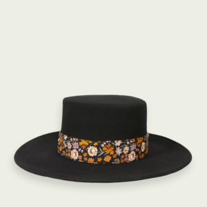 SCOTCH & SODA WOOL FEDORA HAT WITH PRINTED TAPE 159353-0008-BLACK
