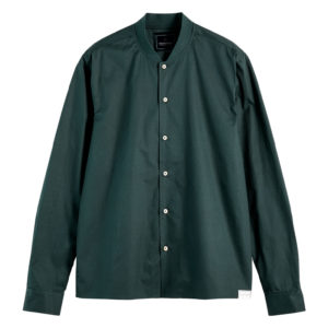 SCOTCH AND SODA LONG SLEEVE SHIRT WITH BOMBER COLLAR 159470-3613-LAGOON GREEN