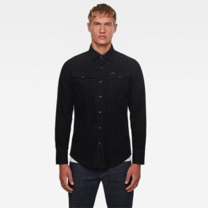 G-STAR RAW 3301 SLIM SHIRT LONG SLEEVE  D17524-C436-B564-DARK BLACK GARMENT DYED