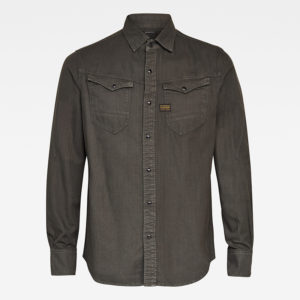 G-STAR RAW ARK  SLIM SHIRT LONG SLEEVE  D17528-7647-B575-ASFALT GARMENT DYED