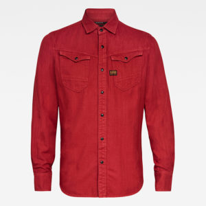 G-STAR RAW ARK  SLIM SHIRT LONG SLEEVE  D17528-7647-B782-DRY RED GARMENT DYED