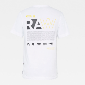 G-STAR RAW BACK GRAPHIC LOGO + R T SS T-SHIRT D17656-B353-110-WHITE
