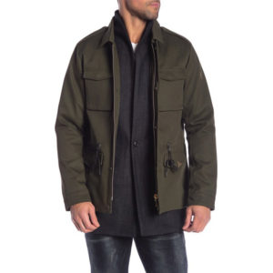 SCOTCH AND SODA HERRINGBONE FRONT SOLID CANVAS FIELD JACKET 139245-0115-ARMY